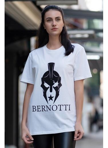 Bernotti 79 Beyaz Özel Baskı Detaylı Kadın T-Shirt Beyaz